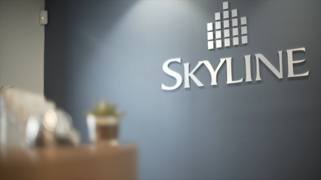 skyline logo appearing in office