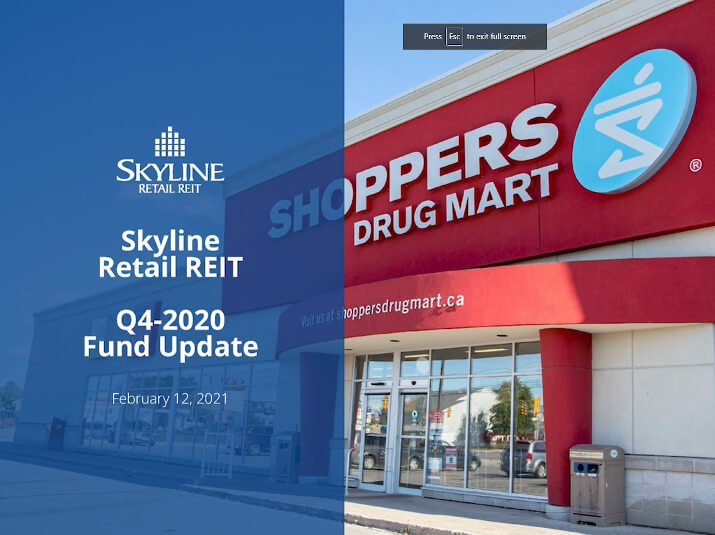 Skyline Retail REIT - Q4 2020 Fund Update